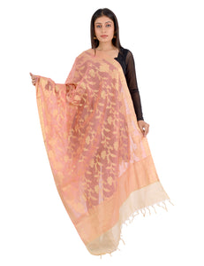 Banjara India Women's Banarasi Kora Silk Zari Dupatta - Rani-Orange