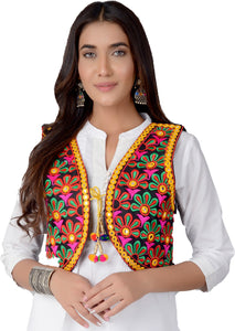 Banjara India Women's Cotton Blend Kutchi Embroidered Sleeveless Short Jacket/Koti/Shrug (REG-101)