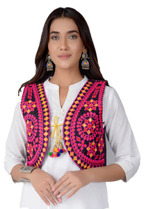 Banjara India Women's Cotton Blend Kutchi Embroidered Sleeveless Short Jacket/Koti/Shrug (REG-104)