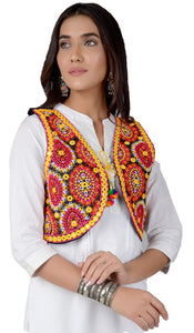 Banjara India Women's Cotton Blend Kutchi Embroidered Sleeveless Short Jacket/Koti/Shrug (REG-109)