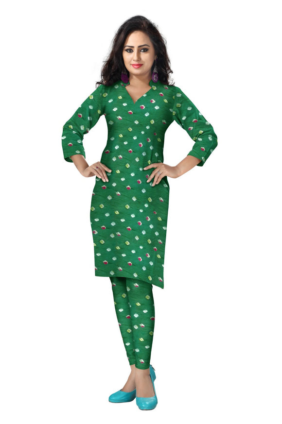 Cambric Cotton All Over Bandhej Dots Tie & Dye Dress Fabric 5 meters -Dark Green