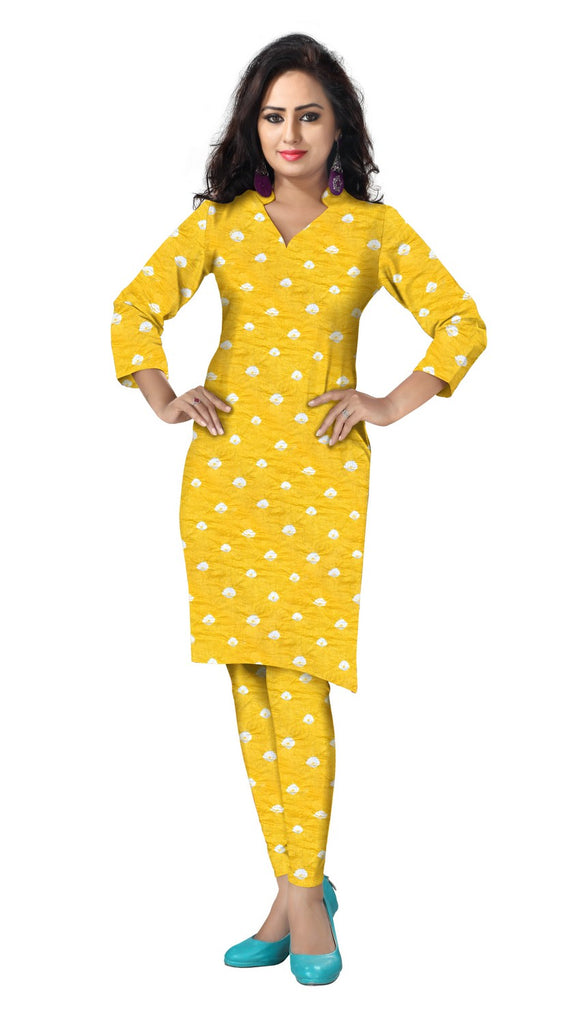 Cambric Cotton All Over Bandhej Dots Tie & Dye Dress Fabric 5 meters -Golden Yellow