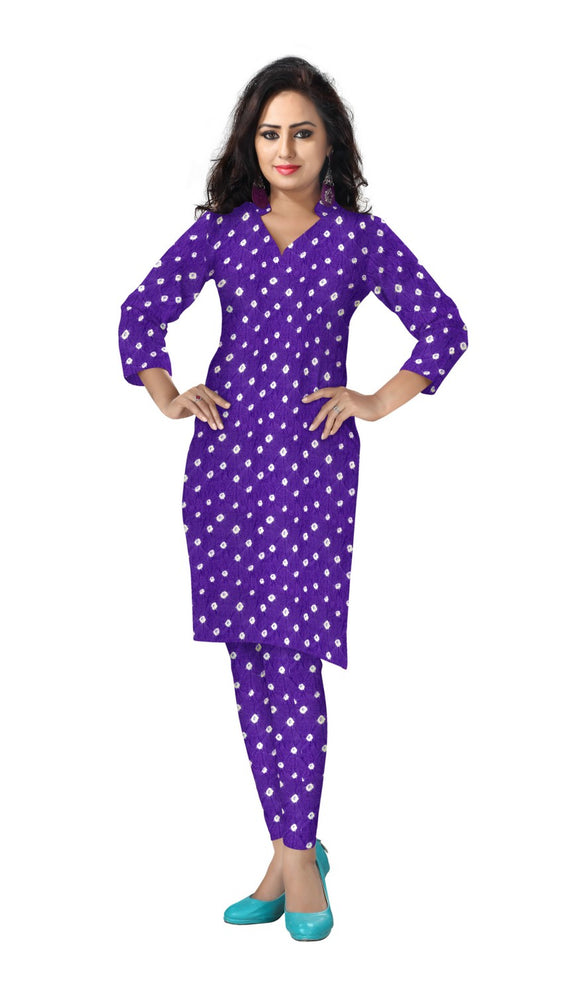 Cambric Cotton All Over Bandhej Dots Tie & Dye Dress Fabric 5 meters -Violet