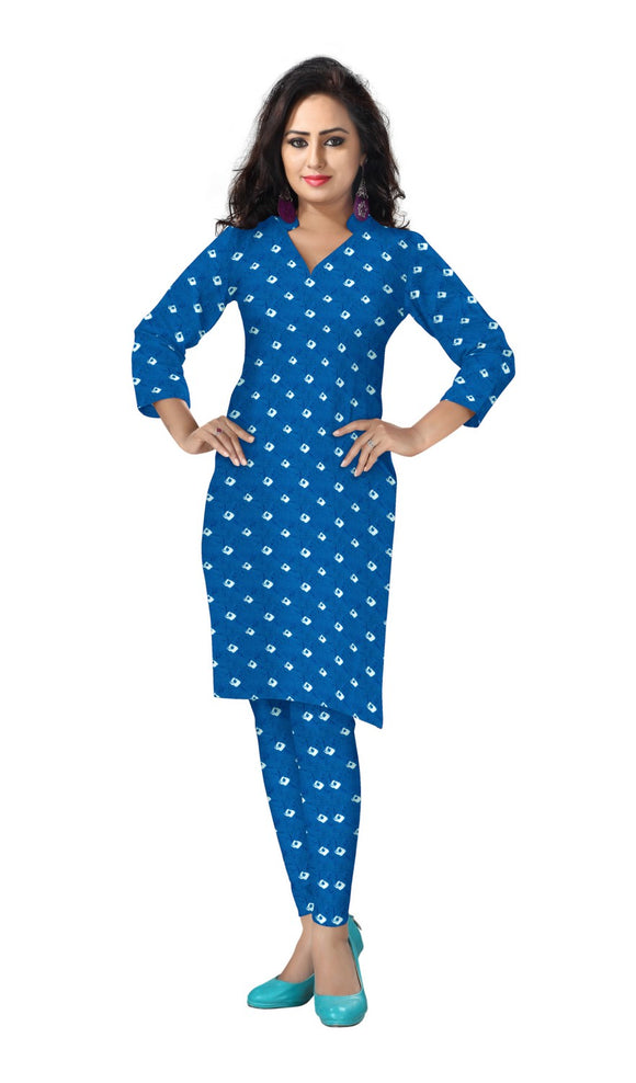 Banjara India Cotton Bhandej All Over Tie & Dye Dress Fabric-Blue