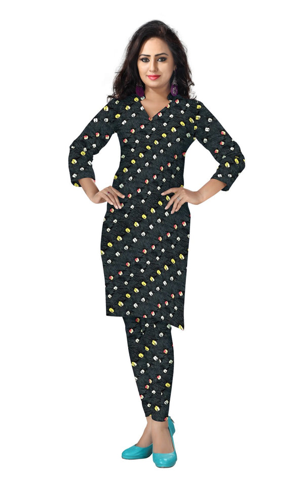Cambric Cotton All Over Bandhej Dots Tie & Dye Dress Fabric 5 meters -Black