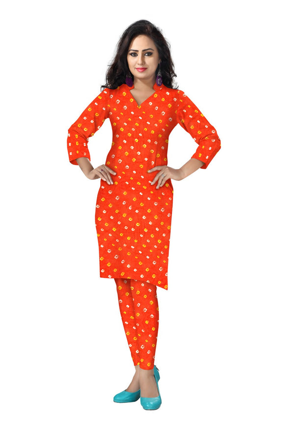 Cambric Cotton All Over Bandhej Dots Tie & Dye Dress Fabric 5 meters -Orange