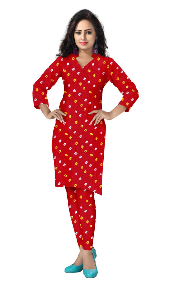 Cambric Cotton All Over Bandhej Dots Tie & Dye Dress Fabric 5 meters -Red