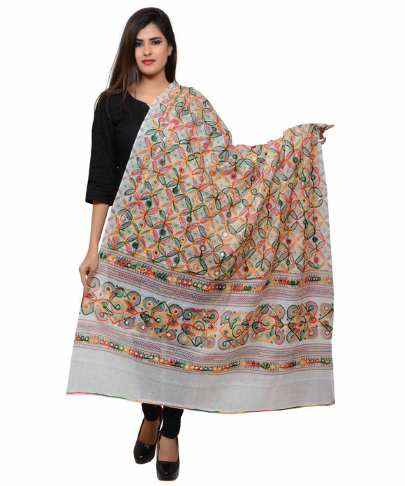 Banjara India Women's Pure Cotton Aari Embroidery & Foil Mirrors Dupatta (Rasna) White - RSN02