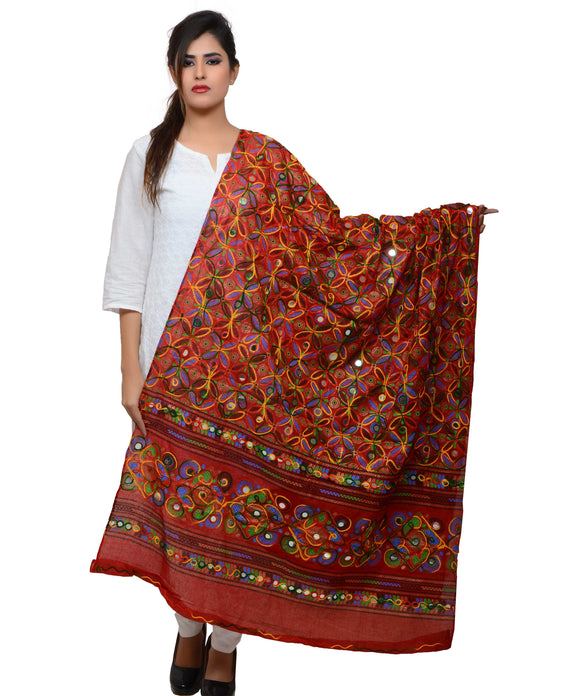 Banjara India Women's Pure Cotton Aari Embroidery & Foil Mirrors Dupatta (Rasna) Red - RSN03