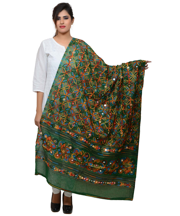 Banjara India Women's Pure Cotton Aari Embroidery & Foil Mirrors Dupatta (Rasna) Dark Green  - RSN05