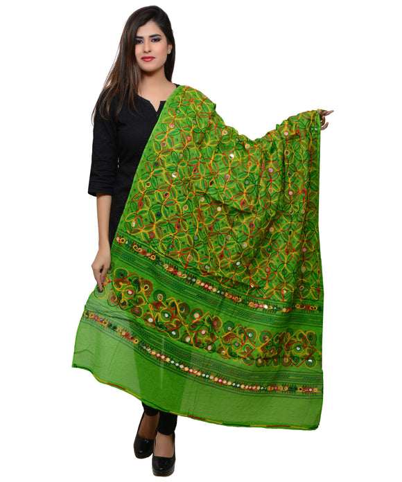Banjara India Women's Pure Cotton Aari Embroidery & Foil Mirrors Dupatta (Rasna) Parrot Green - RSN06