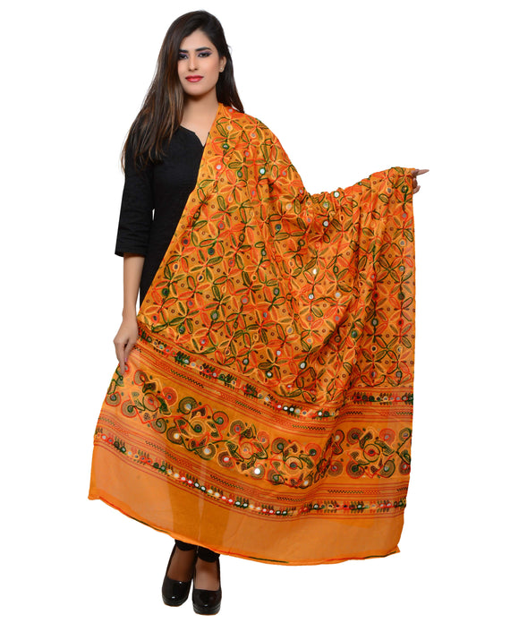 Banjara India Women's Pure Cotton Aari Embroidery & Foil Mirrors Dupatta (Rasna) Light Orange - RSN07