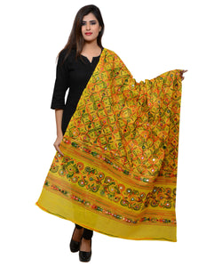 Banjara India Women's Pure Cotton Aari Embroidery & Foil Mirrors Dupatta (Rasna) Lemon Yellow - RSN08