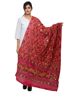 Banjara India Women's Pure Cotton Aari Embroidery & Foil Mirrors Dupatta (Rasna) Pink - RSN09