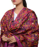 Banjara India Women's Pure Cotton Aari Embroidery & Foil Mirrors Dupatta (Rasna) Magenta Violet - RSN10