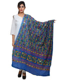 Banjara India Women's Pure Cotton Aari Embroidery & Foil Mirrors Dupatta (Rasna) Blue - RSN12