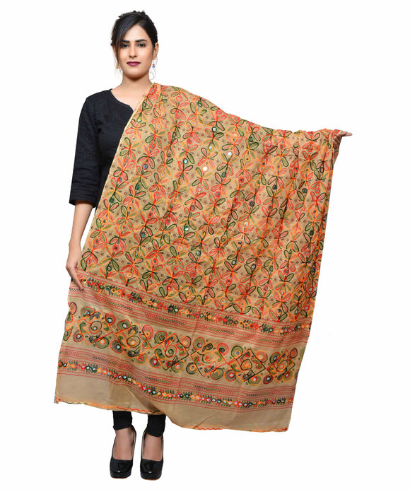 Banjara India Women's Pure Cotton Aari Embroidery & Foil Mirrors Dupatta (Rasna) Beige - RSN14