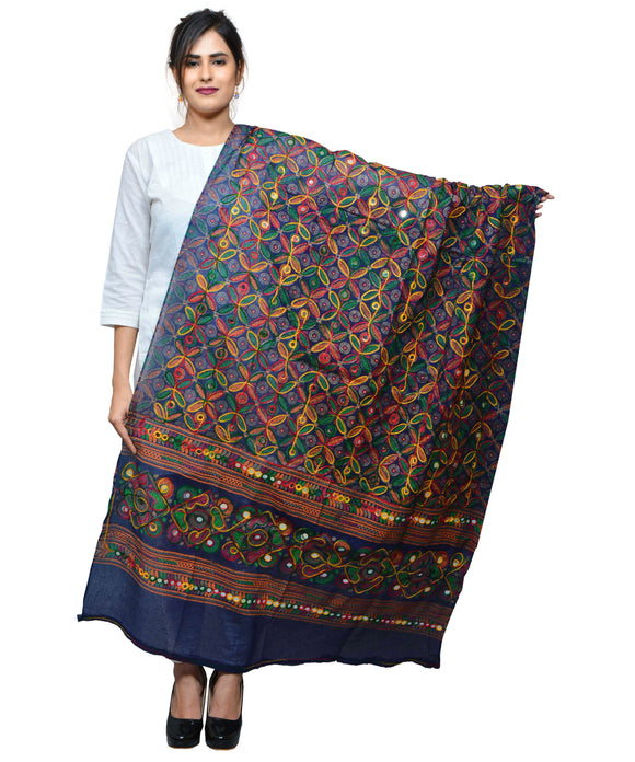 Banjara India Women's Pure Cotton Aari Embroidery & Foil Mirrors Dupatta (Rasna) Dark Blue - RSN15