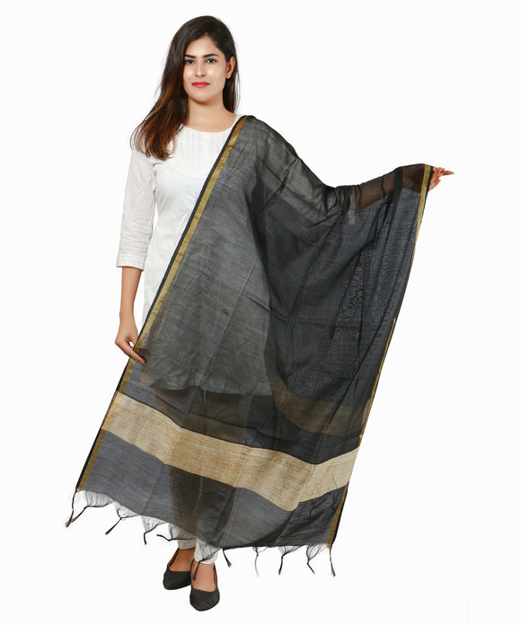 Banjara India Banarasi Solid Cotton Silk Dupatta-Black
