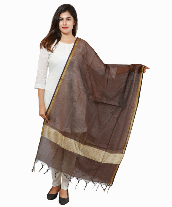 Banjara India Banarasi Solid Cotton Silk Dupatta-Coffee