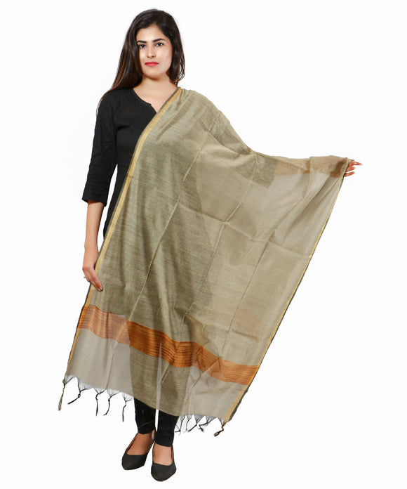 Banjara India Banarasi Solid Cotton Silk Dupatta-Copper