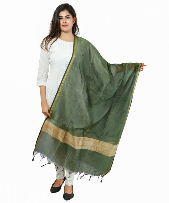 Banjara India Banarasi Solid Cotton Silk Dupatta-Green