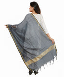 Banjara India Banarasi Solid Cotton Silk Dupatta-Grey