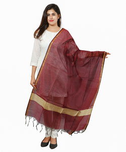 Banjara India Banarasi Solid Cotton Silk Dupatta-Maroon