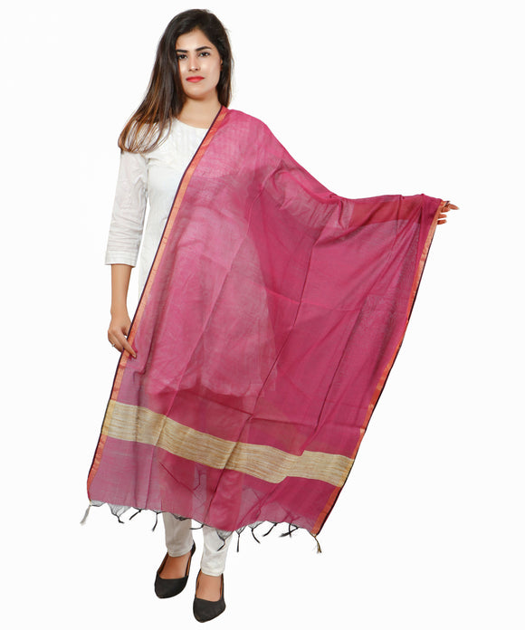 Banjara India Banarasi Solid Cotton Silk Dupatta-Wine