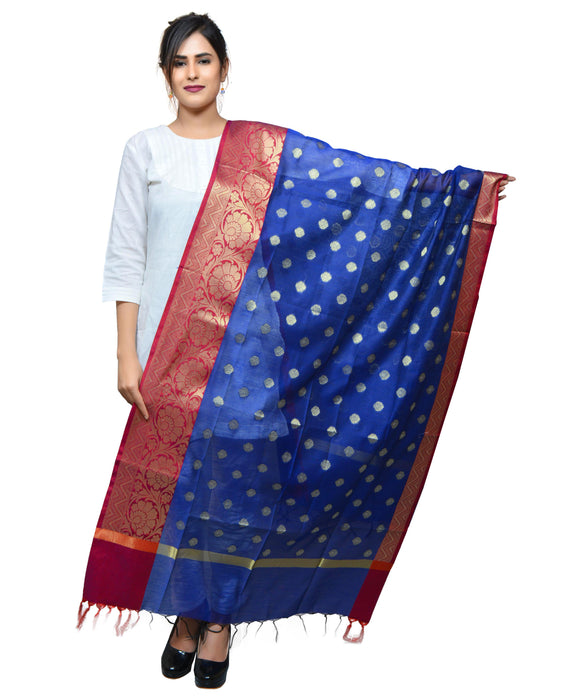 Banjara India Women's Banarasi Kora Silk Zari Dupatta with Shaded Border – Blue