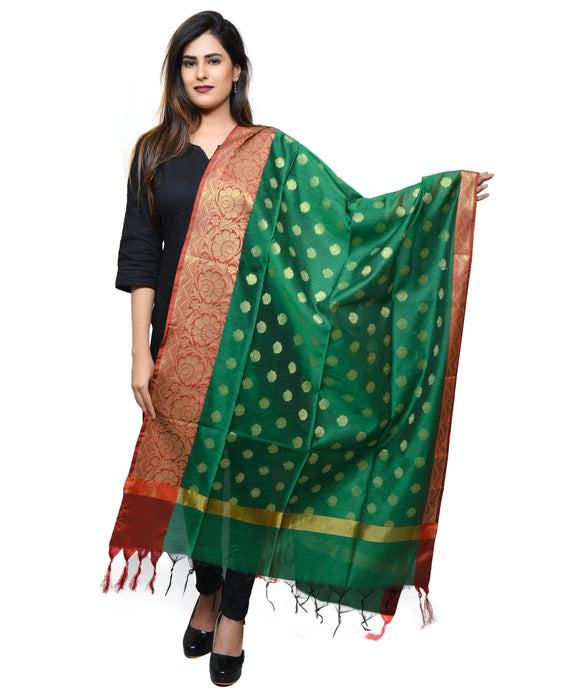 Banjara India Women's Banarasi Kora Silk Zari Dupatta with Shaded Border – Green