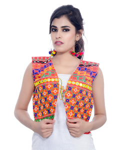 Banjara India Women's Cotton Blend Kutchi Embroidered Sleeveless Short Jacket/Koti/Shrug (Bullet) - SJK-BLT03
