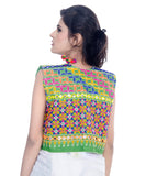 Banjara India Women's Cotton Blend Kutchi Embroidered Sleeveless Short Jacket/Koti/Shrug (Bullet) - SJK-BLT07