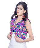 Banjara India Women's Cotton Blend Kutchi Embroidered Sleeveless Short Jacket/Koti/Shrug (Chidiya) - SJK-CDY04