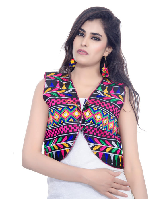 Banjara India Women's Cotton Blend Kutchi Embroidered Sleeveless Short Jacket/Koti/Shrug (Chokdo) - SJK-CKD01