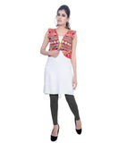 Banjara India Women's Cotton Blend Kutchi Embroidered Sleeveless Short Jacket/Koti/Shrug (Chokdo) - SJK-CKD03