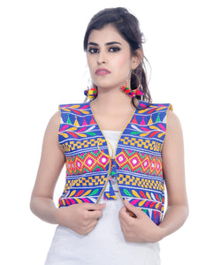 Banjara India Women's Cotton Blend Kutchi Embroidered Sleeveless Short Jacket/Koti/Shrug (Chokdo) - SJK-CKD04