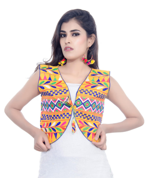 Banjara India Women's Cotton Blend Kutchi Embroidered Sleeveless Short Jacket/Koti/Shrug (Chokdo) - SJK-CKD05
