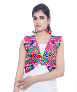 Banjara India Women's Cotton Blend Kutchi Embroidered Sleeveless Short Jacket/Koti/Shrug (Chidiya) - SJK-CDY06