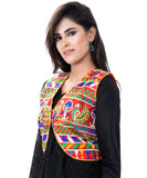 Banjara India Women's Cotton Blend Kutchi Embroidered Sleeveless Short Jacket/Koti/Shrug (Duck ) - SJK-DCK03
