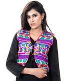 Banjara India Women's Cotton Blend Kutchi Embroidered Sleeveless Short Jacket/Koti/Shrug (Duck ) - SJK-DCK04