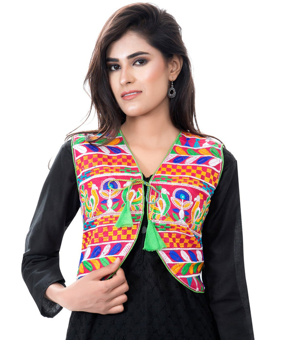 Banjara India Women's Cotton Blend Kutchi Embroidered Sleeveless Short Jacket/Koti/Shrug (Duck ) - SJK-DCK06