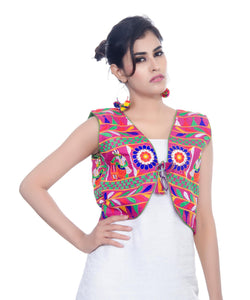 Banjara India Women's Cotton Blend Kutchi Embroidered Sleeveless Short Jacket/Koti/Shrug (Dholak) - SJK-DHK06