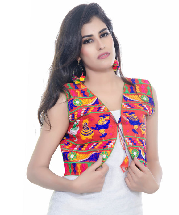 Banjara India Women's Cotton Blend Kutchi Embroidered Sleeveless Short Jacket/Koti/Shrug (Dandiya) - SJK-DND03