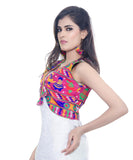 Banjara India Women's Cotton Blend Kutchi Embroidered Sleeveless Short Jacket/Koti/Shrug (Dandiya) - SJK-DND06