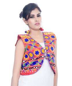 Banjara India Women's Cotton Blend Kutchi Embroidered Sleeveless Short Jacket/Koti/Shrug (Floral) - SJK-FLR03
