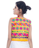 Banjara India Women's Cotton Blend Kutchi Embroidered Sleeveless Short Jacket/Koti/Shrug (Floral) - SJK-FLR05