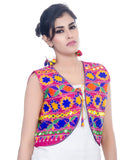 Banjara India Women's Cotton Blend Kutchi Embroidered Sleeveless Short Jacket/Koti/Shrug (Floral) - SJK-FLR06