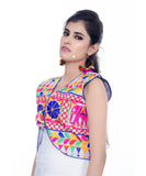 Banjara India Women's Cotton Blend Kutchi Embroidered Sleeveless Short Jacket/Koti/Shrug (Haathi) - SJK-HTH02