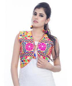 Banjara India Women's Cotton Blend Kutchi Embroidered Sleeveless Short Jacket/Koti/Shrug (Haathi) - SJK-HTH05